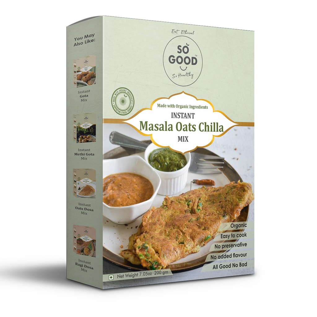 SO GOOD Instant Masala Oats Chilla Mix 200gm
